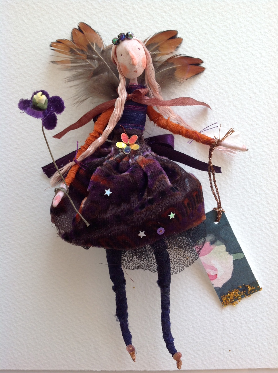 MISS VELVET A 14cm fairy dresse in silk tulle and velvet. She has pheasant feather wings and a hand painted name tag. £ 25 plus p&p.