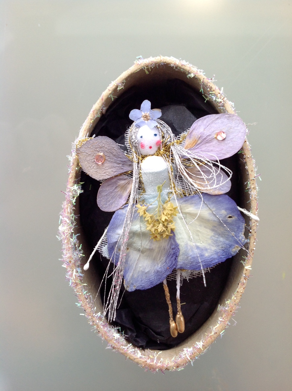 FORGET ME NOT A 6 cm fairy in a box with her name in the lid. Dressed in pansy, hydrangea and forget me not petals. £12 plus £ 3.50 p&p.