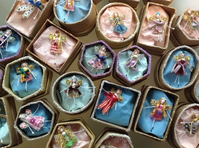 5 cm ( box size) embroidered fairies decorated with silk bows, sequins and jewels. Each fairy has her secret name in the lid. £8 plus £2 p&p