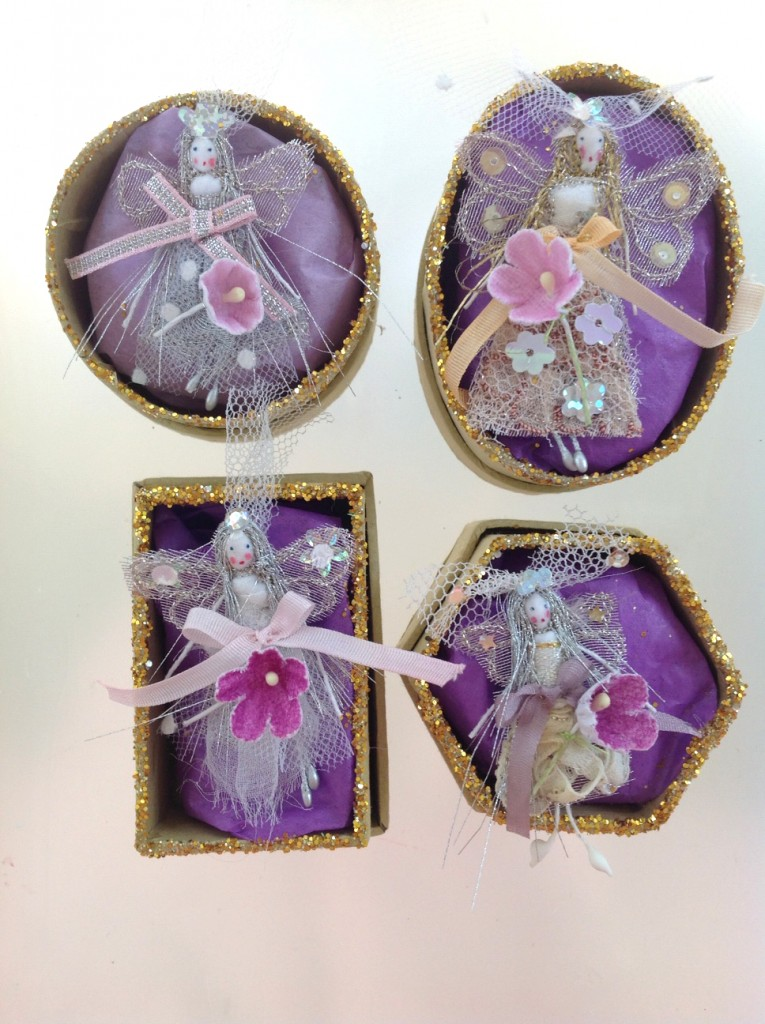 A selection of 6cm boxed fairy brides. Embroidered and embellished with sparkles and sequins and a place in the lid for the bride's name and date of wedding ( optional ). Commissions on request for particular flowers or colours. £12 each plus £3 p&p.