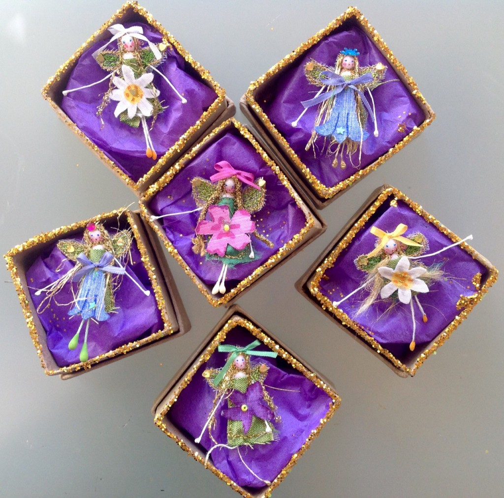 4 cm boxed fairies . A collection of Spring fairies , embroidered with a hand painted silk flower and fine silk ribbons. Embellished with sparkles and sequins. Each one has her name in the lid. £8 plus £3.50 p&p.