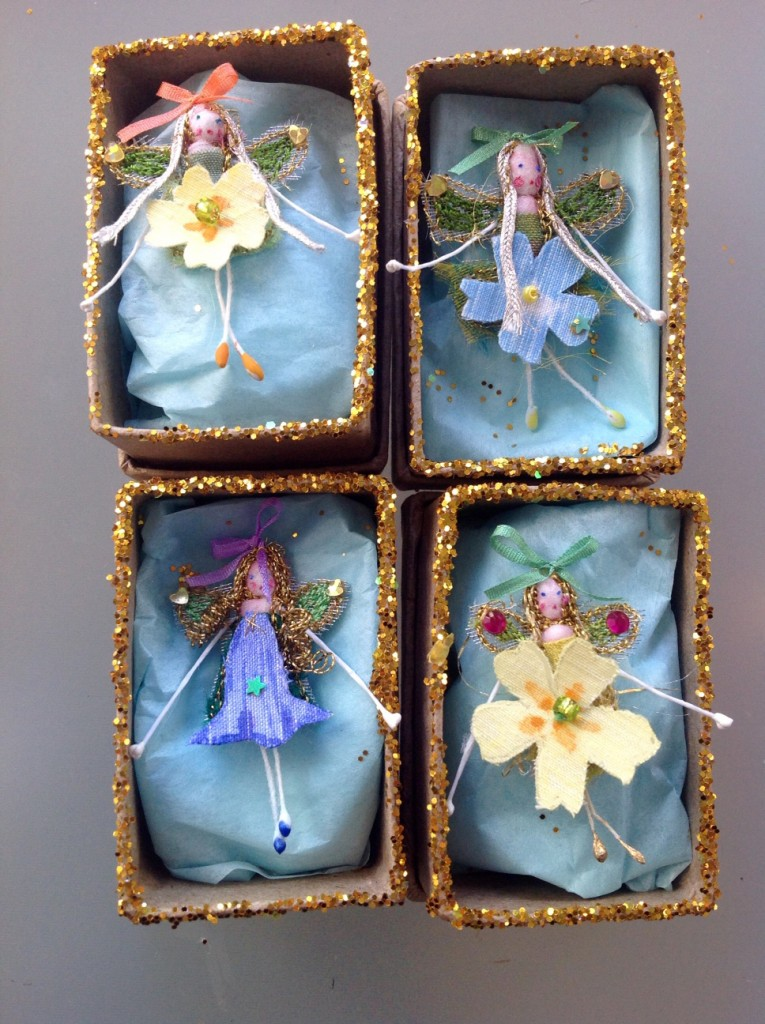 4cm boxed fairies , embroidered with a hand painted silk flower and fine silk ribbons.Embellished with sparkles and sequins. £8each plus £3.50 P&P.