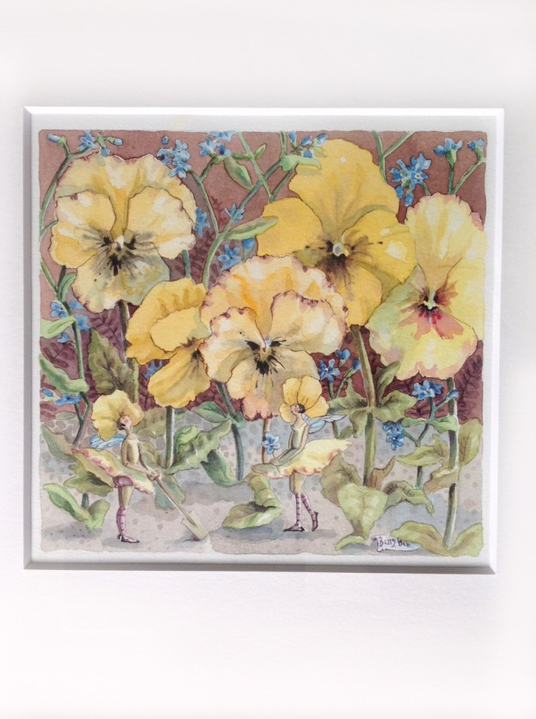 PANSY FAIRIES 6.5 x6.5 inches - mount 13 inch square. £100 plus postage.