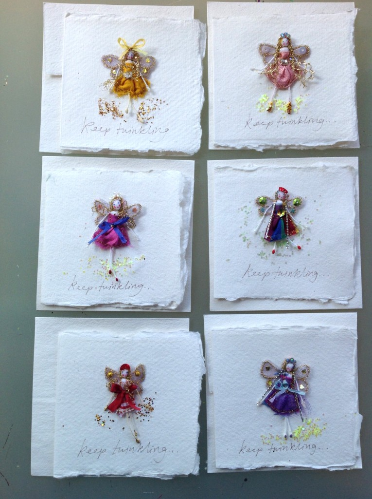 8cm square cards on cotton rag Indian paper with an envelope. An embroidered 5cm fairy is sewn on with a 'keep twinkling' inscription under her. £6 including postage or two for £10