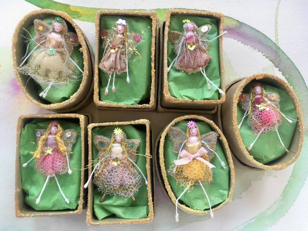 A 2 inch boxed fairy with her secret name in the lid . Embroidered cotton , net and tulle and embellished with sequins and sparkles. £12 including UK postage.