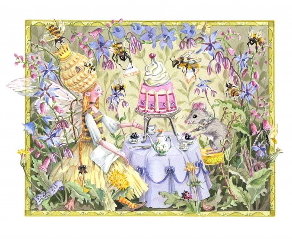 ROYAL JELLY TEA 10x12 inch Giclee print on german Etching paper with archival inks . Limited Edition of 25. £60 including UK postage and packing ( £65 international ). Queen Bee shaving a Royal jelly tea.